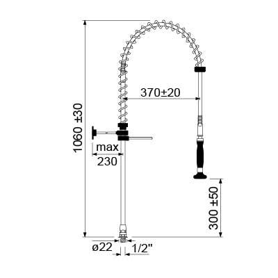 Dus pentru vesela cu cap de dus fara blocare cu adaptor de racord 1/2 GEV serie CLASSIC