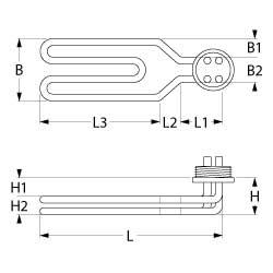 Technische tekening verwarmingselement