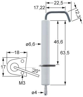 ηλεκτρόδιο ανάφλεξης μήκος φλάντζας 18mm πλάτος φλάντζας 17mm ø D1 7mm ø D2 7.5mm Μ1 5.5mm