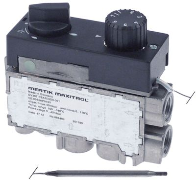 θερμοστατική βαλβίδα αερίου MERTIK  Μέγ. Θ 340°C 100-340 °C είσοδος αερίου κάτω 3/8