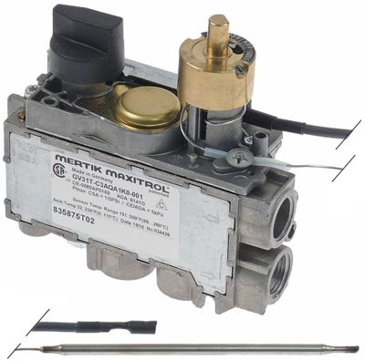 θερμοστατική βαλβίδα αερίου MERTIK  τύπος Μέγ. Θ 260°C είσοδος αερίου κάτω 3/8