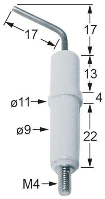 ηλεκτρόδιο ανάφλεξης ø D1 9mm σύνδεσμος M4  ø D2 11mm Μ1 17mm Μ2 17mm ΜΣ1 13mm ΜΣ2 4mm