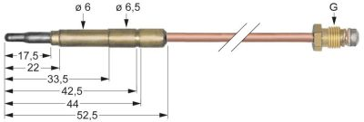 θερμοκόπια M8x1  Μ 1500mm σύνδεση βύσματος ø6,0(6,5)mm