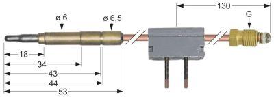 θερμοκόπια M9x1  Μ 600mm σύνδεση βύσματος ø6,0mm με διακόπτη ένωση συγκόλλησης
