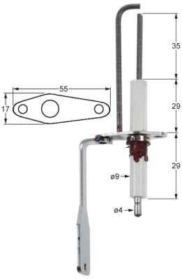 ηλεκτρόδιο ανάφλεξης μήκος φλάντζας 55mm πλάτος φλάντζας 17mm ø D1 9mm Μ1 35mm ΜΣ1 29mm
