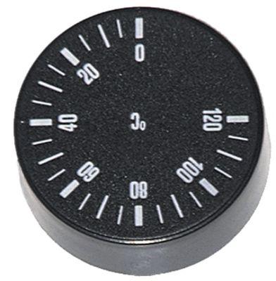 κομβίο θερμοστάτης Μέγ. Θ 120°C 0-120 °C ø 42mm ø άξονα 6x4,6 mm επίπεδος άξονας -135°  μαύρο