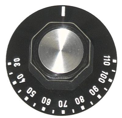 κομβίο θερμοστάτης Μέγ. Θ 110°C ø 50mm ø άξονα 6x4,6 mm επίπεδος άξονας πάνω μαύρο