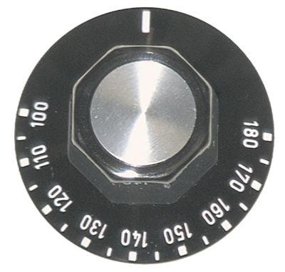 κομβίο θερμοστάτης Μέγ. Θ 180°C ø 50mm ø άξονα 6x4,6 mm επίπεδος άξονας πάνω μαύρο