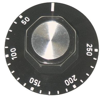 κομβίο θερμοστάτης Μέγ. Θ 250°C ø 50mm ø άξονα 6x4,6 mm επίπεδος άξονας πάνω μαύρο