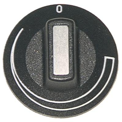 κομβίο με διαβάθμιση Μέγ. Θ  -°C ø 50mm ø άξονα 6x4,6 mm επίπεδος άξονας πάνω μαύρο