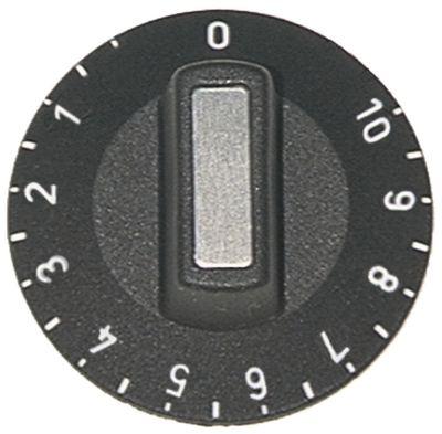 κομβίο ζημενστάτης 1-10 Μέγ. Θ  -°C  -°C ø 50mm ø άξονα 6x4,6 mm επίπεδος άξονας πάνω μαύρο