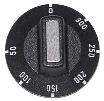 κομβίο θερμοστάτης Μέγ. Θ 300°C ø 50mm ø άξονα 6x4,6 mm επίπεδος άξονας πάνω μαύρο