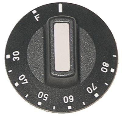 κομβίο θερμοστάτης Μέγ. Θ 85°C ø 50mm ø άξονα 6x4,6 mm επίπεδος άξονας πάνω μαύρο
