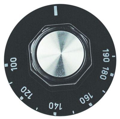 κομβίο θερμοστάτης Μέγ. Θ 190°C ø 50mm ø άξονα 6x4,6 mm επίπεδος άξονας πάνω ασημί