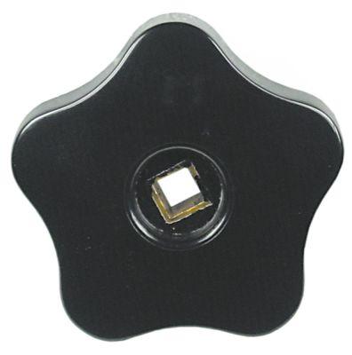 λαβή αστέρι θερμοπλαστικό ø 70mm μαύρο Μ 22mm άξονας 8x8 mm