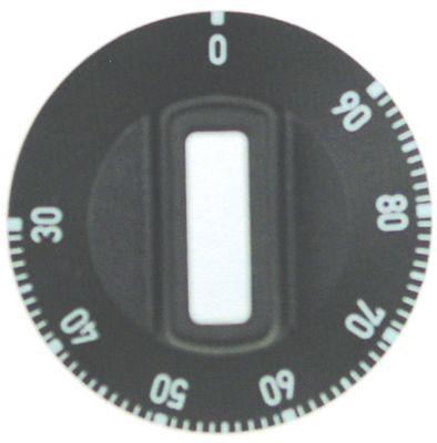 κομβίο θερμοστάτης Μέγ. Θ 90°C ø 50mm ø άξονα 6x4,6 mm επίπεδος άξονας πάνω μαύρο