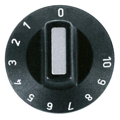 κομβίο θερμοστάτης 1-10 Μέγ. Θ  -°C ø 50mm ø άξονα 6x4,6 mm επίπεδος άξονας πάνω