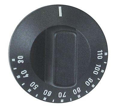 κομβίο θερμοστάτης Μέγ. Θ 110°C ø 50mm ø άξονα 6x4,6 mm επίπεδος άξονας αριστερά μαύρο