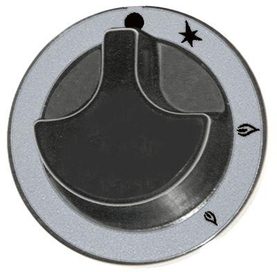 κομβίο βάνα αερίου με φλόγα ανάφλεξης ø 62mm ø άξονα 6x4,6 mm επίπεδος άξονας πάνω