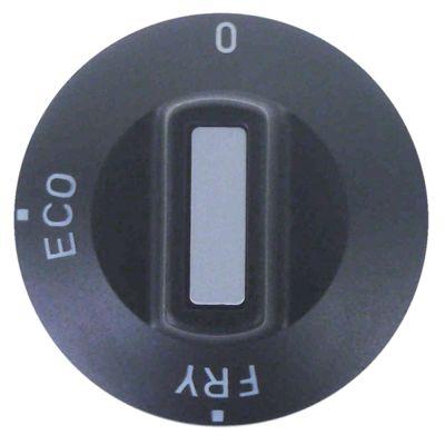 κομβίο 0-ECO-FRY  Μέγ. Θ  -°C  -°C ø 50mm ø άξονα 6x4,6 mm επίπεδος άξονας πάνω μαύρο