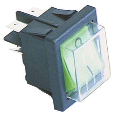 διακόπτης διαστ. τοποθέτ. ορθογώνιο πράσινο 2NO  230V 16A 0-I  σύνδεσμος αρσενικό εξάρτημα 6,3mm