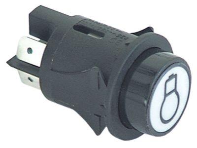 στιγμιαίος διακόπτης start διαστ. τοποθέτ. ø25mm στρογγυλό μαύρο 2NO  250V 16A  -  - φως