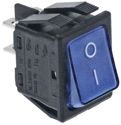 διακόπτης ορθογώνιο μπλε 2NO  250V 16A 0-I  σύνδεσμος αρσενικό εξάρτημα 6,3mm