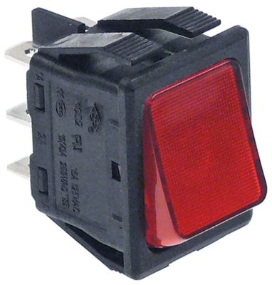 διακόπτης φωτιζόμενο ορθογώνιο κόκκινο 2CO  250V 16A σύνδεσμος αρσενικό εξάρτημα 6,3mm