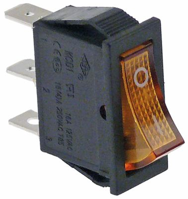 διακόπτης ορθογώνιο πορτοκαλί 1NO/ενδεικτική λυχνία 250V 16A 0-I