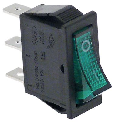 διακόπτης ορθογώνιο πράσινο 1NO/ενδεικτική λυχνία 250V 16A 0-I  σύνδεσμος αρσενικό εξάρτημα 6,3mm