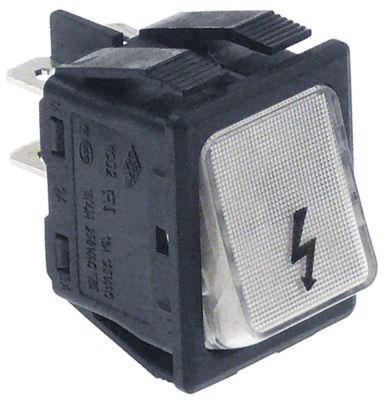 στιγμιαίος διακόπτης ορθογώνιο λευκό 2NO  250V 16A φλας σύνδεσμος αρσενικό εξάρτημα 6,3mm