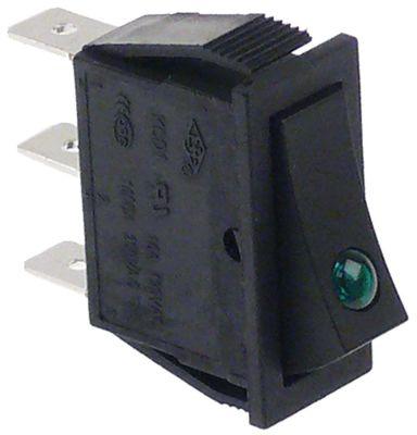 διακόπτης ορθογώνιο πράσινο 1NO/ενδεικτική λυχνία 250V 16A σύνδεσμος αρσενικό εξάρτημα 6,3mm