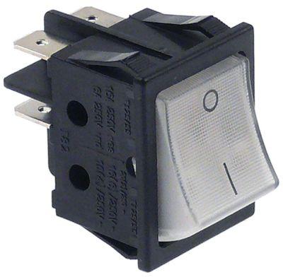 στιγμιαίος διακόπτης ορθογώνιο λευκό 2NO  250V 16A 0-I  σύνδεσμος αρσενικό εξάρτημα 6,3mm