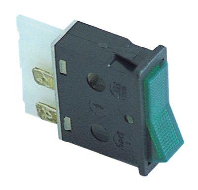 διακόπτης φωτιζόμενο ορθογώνιο πράσινο 2NO  250V 16A μετρήσεις στερέωσης 34,2x12,6 mm