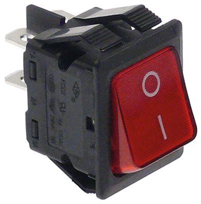 διακόπτης διαστ. τοποθέτ. ορθογώνιο κόκκινο 2NO  400V 10A  - 0-I  σύνδεσμος αρσενικό εξάρτημα 6,3mm