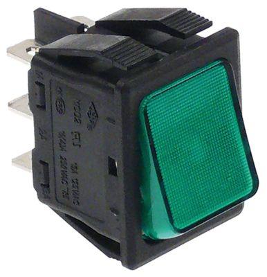 στιγμιαίος διακόπτης διαστ. τοποθέτ. 30x22mm ορθογώνιο 2CO  πράσινο 250V 16A φωτιζόμενο  -  -