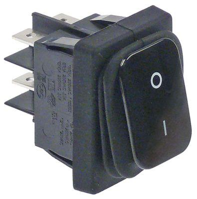 διακόπτης ορθογώνιο μαύρο 2NO  250V 20A 0-I  σύνδεσμος αρσενικό εξάρτημα 6,3mm