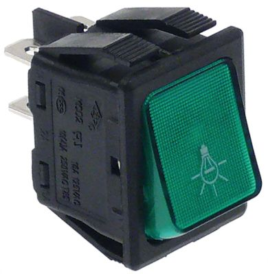διακόπτης διαστ. τοποθέτ. ορθογώνιο πράσινο 2NO  250V 16A  - φωτισμός