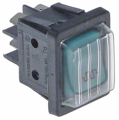 διακόπτης διαστ. τοποθέτ. φωτιζόμενο ορθογώνιο πράσινο 2NO  250V 16A θέρμανση