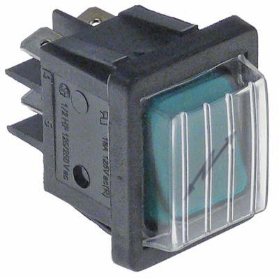 διακόπτης φωτιζόμενο ορθογώνιο πράσινο 2NO  250V 16A φλας σύνδεσμος αρσενικό εξάρτημα 6,3mm