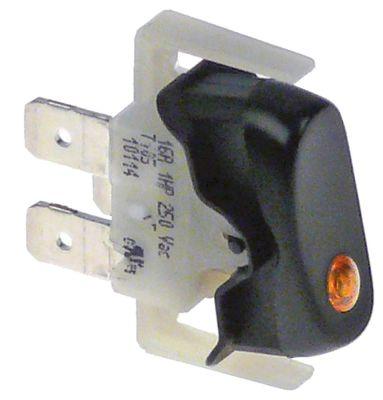 διακόπτης φωτιζόμενο μαύρο 1NO  250V 16A 1-πόλοι