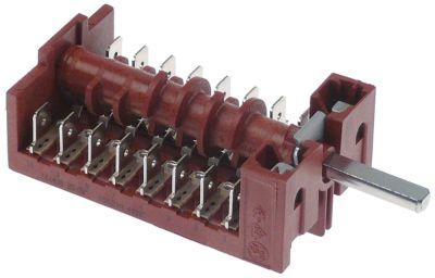 διακόπτης λειτουργίας 5 θέσεις λειτουργίας 6NO/1CO  ακολουθία 0-1-2-3-4  16A ø άξονα 6x4,6 mm
