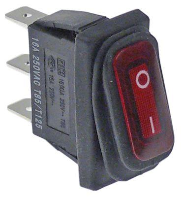 διακόπτης ορθογώνιο κόκκινο 1NO  230V 16A 0-I  σύνδεσμος αρσενικό εξάρτημα 6,3mm