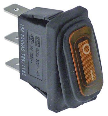 διακόπτης ορθογώνιο πορτοκαλί 1NO  230V 16A 0-I  σύνδεσμος αρσενικό εξάρτημα 6,3mm
