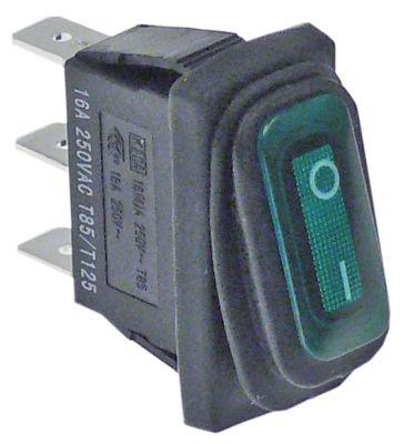 διακόπτης διαστ. τοποθέτ. ορθογώνιο πράσινο 1NO  230V 16A  - 0-I  σύνδεσμος αρσενικό εξάρτημα 6,3mm