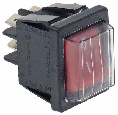 διακόπτης φωτιζόμενο ορθογώνιο κόκκινο 2NO  250V 16A 0-I  σύνδεσμος αρσενικό εξάρτημα 6,3mm