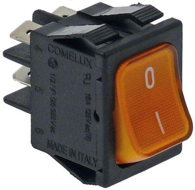 διακόπτης διαστ. τοποθέτ. 30x22mm ορθογώνιο 2NO  πορτοκαλί 250V 16A φωτιζόμενο  - 0-I