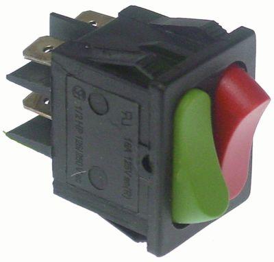διακόπτης διαστ. τοποθέτ. 30x22mm ορθογώνιο 1NO/1NC  κόκκινο/πράσινο 230V 16A  -  -