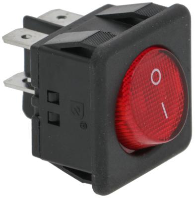 διακόπτης στρογγυλό κόκκινο 2NO  250V 16A 0-I  σύνδεσμος αρσενικό εξάρτημα 6,3mm