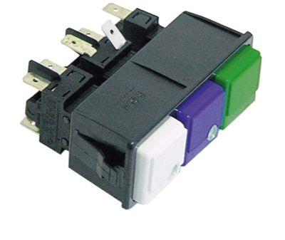συνδυασμένοι διακόπτες διαστ. τοποθέτ. 28,5x77,5mm τετράγωνο λευκό/μπλε/πράσινο 2CO/2NO/1NO  250V 16A